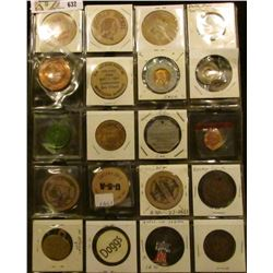 Plastic page containing (20) different World's Fair Medals, Wooden Nickels, Medals, and etc.