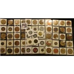 Over (60) various tokens, Wooden Nickels, and ect. Includes an Order of the Owl Token, Denver, Iowa
