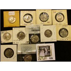 1935P, 66P, 67P, 69P, S, (2) 71P, 78S, 84D, 94 P & D Washington Quarters in holders.