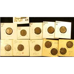 1909P VF, 1909P VDB, 1915P, D, S, 20P, 26D, 27P, & (4) 29 D Lincoln Cents in cardboard holders.
