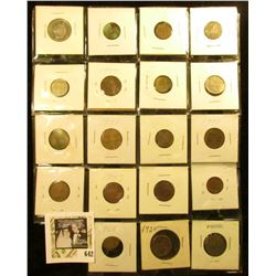(17) Mixed Foreign Coins; 1920 Buffalo Nickel & a Liberty Nickel in a plastic page.