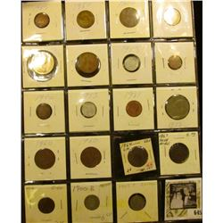 (14) Mixed Foreign Coins; 1864 LM U.S. Two Cent Piece VG;1867 Shield Nickel; 1912 P Cent; 1900 S & 0
