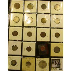 (15) Mixed Foreign Coins & Medals; 1916 P Buffalo Nickel; 1907 P Barber Dime; 1857 Seated Dime (dama