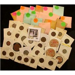 "(39) various date Jefferson nickels in coin envelopes; (2) ""Molly's Café Ottumwa, Ia."" wooden Nickel"