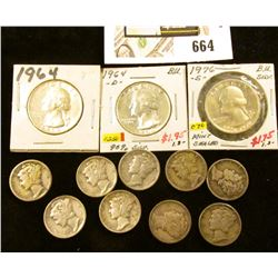 (9) Mixed date Mercury Dimes; 1964P, D, & 76S Silver Washington Quarters.