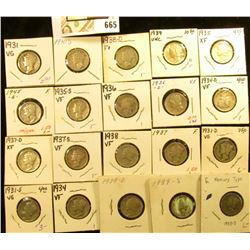 1930S, 31P, D, S, 34P, D, 35P, D, S, 36P, D, 37P, D, S, 38P, D, 39P, D, S, & 45S Mercury Dimes, all