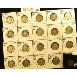 1928S, 29P, D, S, 30P, S, 31P, D, S, 34P, D, 35P, 36P, D, 37P, D, 38P, 39P, D, & S  Mercury Dimes, a