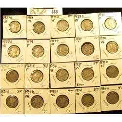 1927D, S, 28P, D, S, 29P, D, S, 30P, S, 31D, S, 34P, D, 36P, 37P, D, 39P, D, & S Mercury Dimes, all