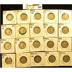 1925P, S, 26P, D, S, 27P, D, S, 28P, D, S, 29P, D, 30S, 31D, 34P, 36P, 37D, 39D, & S Mercury Dimes,