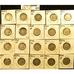 1921P, 23P, 24P, D, S, 25P, 26P, S, 27P, S, 28P, D, S, 29P, D, 30S, 31D, 34P, 37D, & 39D Mercury Dim