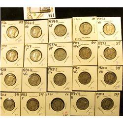 1919S, 20P, D, S, 23P, 24P, D, S, 25P, 26P, S, 27P, S, 28P, D, S, 29P, S, 37D, & 39D Mercury Dimes,