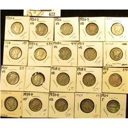 1917P, D, S, 18D, S, 19P, D, 20D, 23P, 24P, D, S, 25P, 26P, S, 27P, 28P, D, 37D, & 39D Mercury Dimes