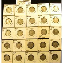 1916P, S, 17P, S, 18D, 19P, 20D, 23P, 24P, 25P, 26P, 37D, & (13) 39D Mercury Dimes, all carded in ho