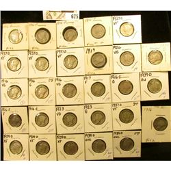 (8) 1916P, (3) S, 17P, 19P, (2) 23P, 26P, (5) 37D, & (7) 39D Mercury Dimes, all carded in holders. G