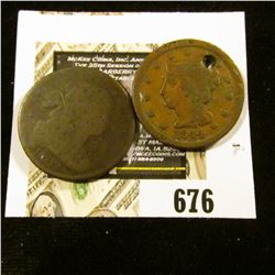 1802 AG & 1844 (holed) U.S. Large Cents.