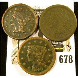 1845, 49, & 50 U.S. Large Cents, G-Fine.