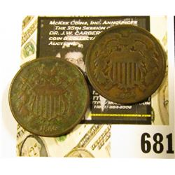 1864 & 1865 U.S. Civil War Two-Cent Pieces. G-Fine.