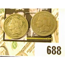 1865 & 1866 U.S. Three Cent Nickels, both VG.