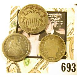 1873 U.S. Shield Nickel; 1842 Liberty Seated Dime; & 1913 P Barber Dime.