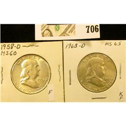 1958 D & 63 D Uncirculated Benjamin Franklin Half Dollars.