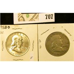 1958 D BU & 60 D Fine Benjamin Franklin Half Dollars.