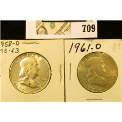 1958 D & 61 D Uncirculated Benjamin Franklin Half Dollars.