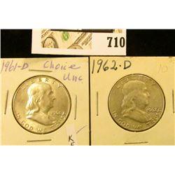 1961 D BU & 62 D AU Benjamin Franklin Half Dollars.