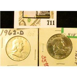 1962 D AU & 63 P BU Benjamin Franklin Half Dollars.