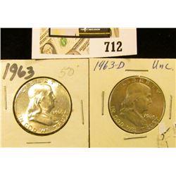1963 P & 63 D Gem BU Benjamin Franklin Half Dollars.