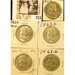(5) 1963 D Benjamin Franklin Half Dollars. AU-BU.