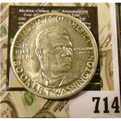 1951 P Booker T. Washington Silver Commemorative Half Dollar, Brilliant Uncirculated.