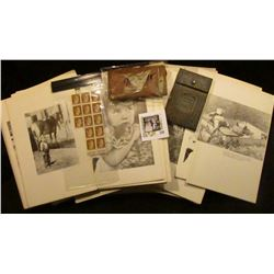 Large group of old black & white Photo booklets with historical Iowa Photos; leather wallet embossed