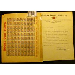 """Elmira, New York"" Boost Our Town Sheet of ""Buy At Home"" Stamps; ""Boost and Buy in Elmira"" Poster an"