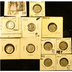 1940P, D, 41D, 42P, D, 43P, S, 44P, S, & 45D Mercury Dimes, all EF to Choice AU.