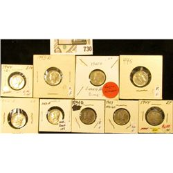 1934D, 42P, D, 43P, D,  44P, D, S, & 45D Mercury Dimes, all EF to Choice AU.