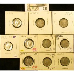 1938D, 39P, 40D, 41S, 42P, S, 43P, D, 44P, & 45D Mercury Dimes, all EF to Choice AU.