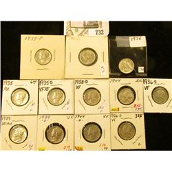 1935P, D, 36P, D, S, 37P, 38P, 39P, D, 43D, 44P, & D Mercury Dimes, all VF to Choice AU.