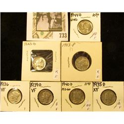 1935D, 36P, 39D, 40D, 43P, D, & 44D Mercury Dimes, all VF to Uncirculated.
