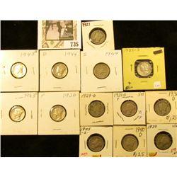 1921P, 29D, 31S, 36P, D, 39P, S, 40D, 43P, D, 44D, S, & 45S Mercury dimes.