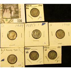 1921D, 30P, 31S, 36P, 39D, S, 44S Mercury dimes.
