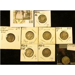 1921D, 29D, 31D, (2) 31S, 35P, & (2) 36P Mercury dimes.