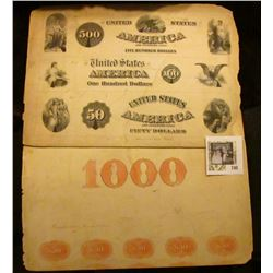 Two large Plate vignettes of Steel Engravings for Bond issues; Counterfeit $1000 5/20 Reverse Fourth