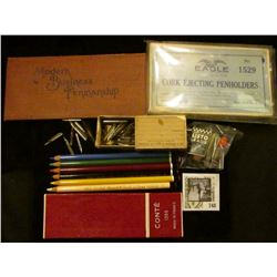 "Group of Mechanical Pencil lead in original boxes; Set of Colored Pencils in a ""Conte 1355 Made In F"