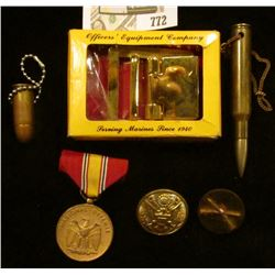 Marine Brass Buckle in original box; empty rifle round Key Chain; empty pistol round key chain; Nati