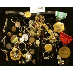 Large group of Old Jewelry, which needs sorted. Includes a military Medal, old I.N.A. medal, and etc