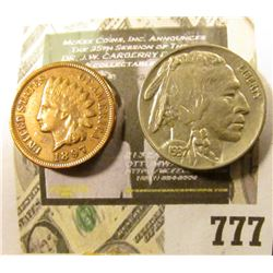 1937 P High Grade Buffalo Nickel, Full horn; & a high grade 1897 Indian Head Cent.
