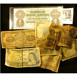 Bank of Mexico One Peso note; $3 Bulls Head facsimile Note; (2) Worn old Japanese Notes with Mum; 19