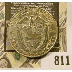 1934 Panama Silver Half Balboa, .900 fine silver, 90,000 mtg., KM#12. VF.