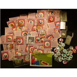 (43) Reproduction Political Pin-backs on identifying cards; Teddy Bear Post Card; advertising mirror