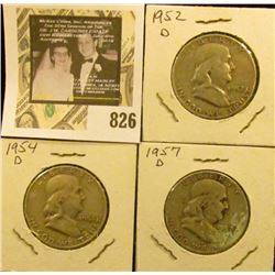 1952 D, 54 D, & 57 D U.S. Silver Franklin Half Dollars.